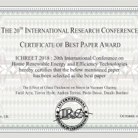 The Best Paper Award of the ICHREET 2018